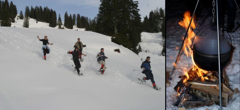 Schneeschuh-Trekking mit Glühwein am offenen Feuer